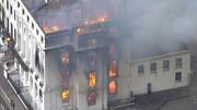 آتش سوزی هتل دوران ملکه ویکتوریا در انگلیس | فیلم آتش سوزی هتل تاریخی کلارمونت را ببینید